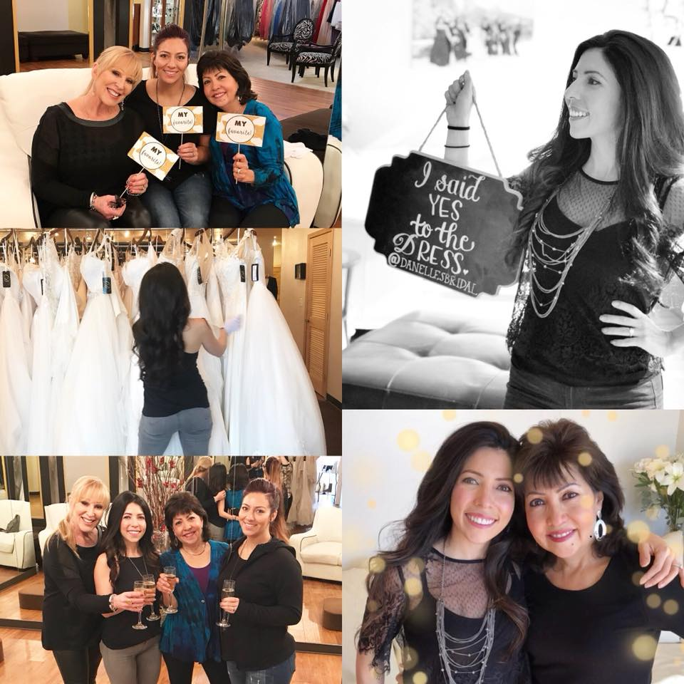 Danelle's Bride Maria sayes yes to the dress with her family. Wedding dress shopping at Danelle's Bridal Boutique in Colorado Springs, the best bridal shop in Colorado.