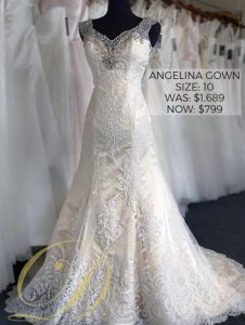 Angelina Wedding Dress size 10 Danelle's Bridal Outlet in Pueblo, Colorado. Now $799 outlet sale price marked down from $1,689 at Colorado's premier bridal outlet. Lace fit and flare bridal gown with beaded embellishments on straps and neckline.