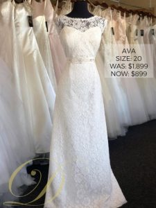 Ava Wedding Dress size 20 at Danelle's Bridal Outlet in Pueblo, Colorado. Now just $899 at outlet sale price, from $1,899 original price. An allover lace sheath bridal gown with beaded embellishments at waist; illusion neckline.