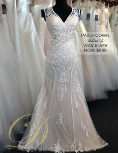 Paige Wedding Dress at Danelle's Bridal Outlet in Pueblo, Colorado. Size 12 fitted gown with ornate detailing throughout. Now on sale for only $899.